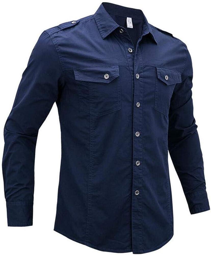 Camisas for Hombre Slim Fit Tops de Manga Larga Camisa Militar Casual con charretera Ropa de Trabajo for Hombres de Ocio al Aire Libre Camisa de algodón con 2 Bolsillos Frontales: Amazon.es: