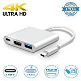 USB C to HDMI Adapter 4K, Exwin 3 in 1 Type-C to HDMI Multi-Port USB Adapter with USB 3.0 Port & USB C Recharging Port for MacBook Series Chromebook Pixel and More (Aluminum, Silver)