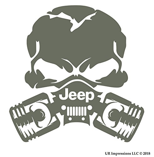 UR Impressions Blk Jeep Piston Gas Mask Skull Decal Vinyl Sticker Graphics for 4x4 Grand Cherokee Wrangler Renegade SUV Wall Window Laptop|Black|5.5 Inch|URI028 B