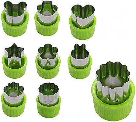 TOOGOO 9pzs Mini cortadores de galletas Cortador de fruta vegetal corteza de empanada juego con estrellas oso conejos setas fresa corazon formas de ...