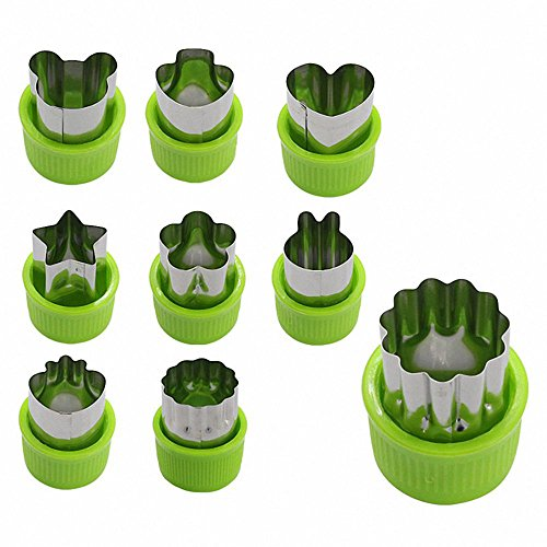 SODIAL 9pcs Mini Cookie Cutters Pie Crust Vegetable fruit Cutter baking Set tools accessories with bear stars rabbits mushrooms strawberry Heart cookie cutter shapes - Star Dough Cutter