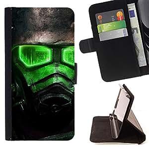 KingStore / Leather Etui en cuir / Samsung ALPHA G850 / Green Glow Fall0Ut Soldier