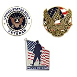PinMart USN Navy Veteran Military Patriotic Enamel Lapel Pin Set