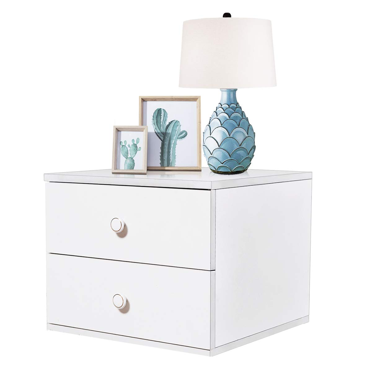 Tangkula Night Stand Contemporary Simple Design Wood Multi-Purpose Home Furniture Side End Table Storage Cabinet with 2 Drawers, White (1) by Tangkula