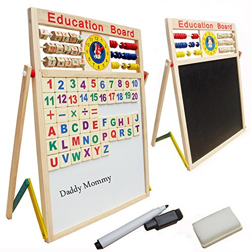 Magnetic Standing Easel ?Xben Double Sided Kids Drawing Board, Chalkboard, Dry-Erase Board, and 51 pcs Letter and Number Magnets