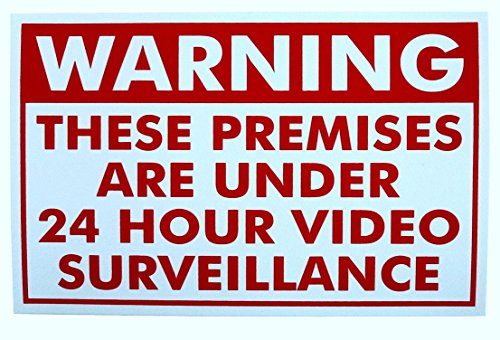 1 Pc Tops Popular Warning 24 hour Spy Sign Video Surveillance Security Yard No Trespassing Size 11