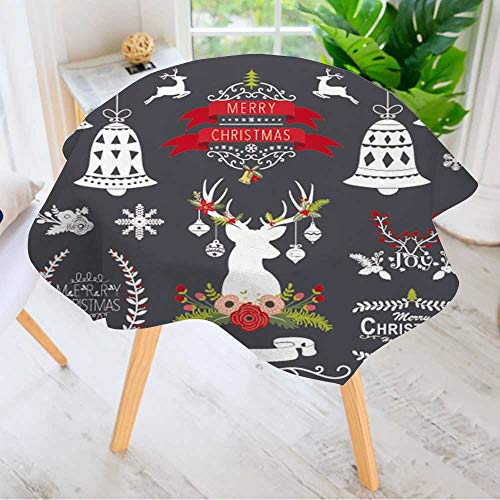 Leighhome 100% Polyester Printed Table Cloth- Christmas Chalkboard Collection Ideal for Home, Restaurants, Cafés 63