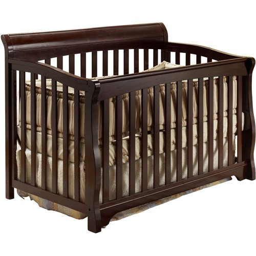4-in-1 Convertible Crib, Toddler Bed DayBed, Full-Size Bed, Made of Pine Wood, Fixed-Side Crib, Baby Furniture, 2 Adjustable Mattress Heights, Baby Convertible Crib, Bonus e-Book (Espresso) (Fixed Child Care Side Crib)