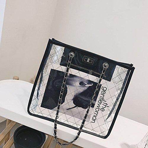 à américaine Sac et européenne bandoulière à chaîne Messenger Sac Transparent Femme WSLMHH Noir marée Sac gelée Sac FBxYqYw1A