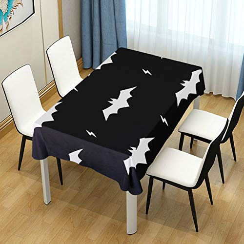 MIGAGA Decor Tablecloth Vector Pattern Bats Seamless Halloween Background Multicolor Rectangular Table Cover for Dining Room Kitchen Outdoor Picnic]()