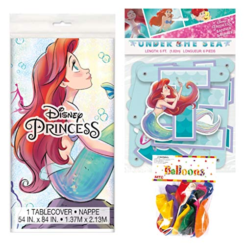 Little Mermaid Table Cover (The Little Mermaid Themed Party Decorations - Includes Party Banner,Tablecloth and Ten 12