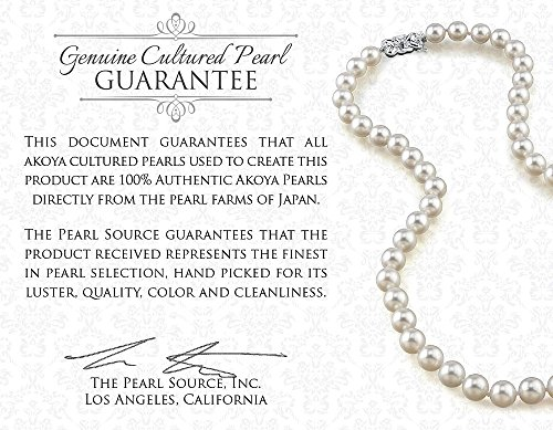 "14K Gold Japanese Akoya Saltwater White Cultured Pearl Necklace AAA Quality, 18"" Princess Length"