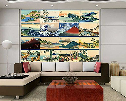 Peel and Stick Wallpapaer Japanese Style Paintings Collage by Hokusai Removable Large Wall Mural Creative Wall Decal