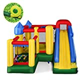 Giantex Mighty Inflatable Bounce House Castle Jumper Moonwalk Bouncer w/ 735W Blower, 50 Pcs Ocean Balls, Carry Bag, Stakes and Repair Kit