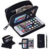 NEW Classic Wristlet Zipper Leather Cash Clutch Multifunction Card Holder Purse Wallet Case Phone Cover For Samsung Galaxy S6 Edge Plus,S7 Edge Plus,Galaxy Note 5 Note 4 Note 3,Galaxy S5 S4 S3,for Phone 6 Plus,Phone 6S Plus,Phone 5s 4s
