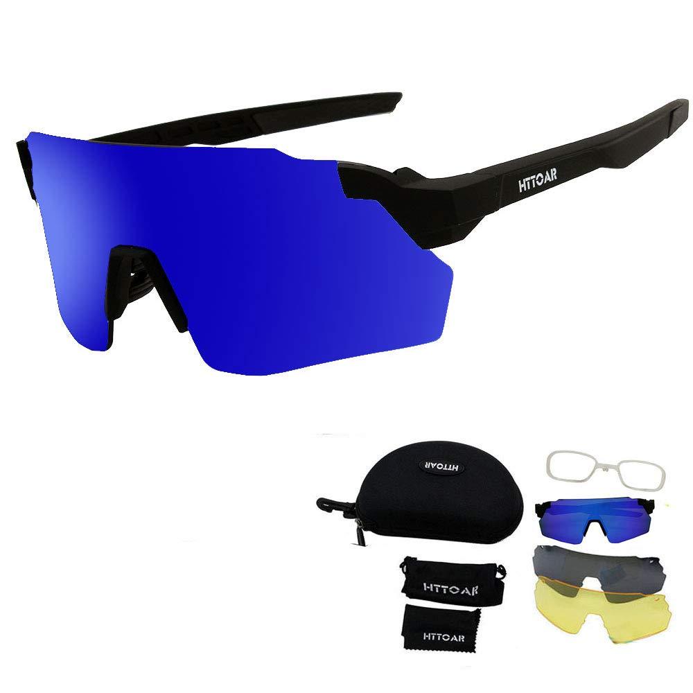 2cae3eb3d13c8 Amazon.com   HTTOAR Sports Sunglasses with 3 Interchangeable Lenes for Men  Women Cycling Running Driving Fishing Golf Baseball Glasses (Black Frame  Blue) ...