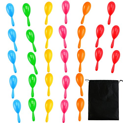 Resinta 30 Pieces Neon Maracas Shakers Mini Noisemaker Bulk Colorful Noise Maker with Drawstring Bag for Mexican Fiesta Party Favors Classroom Musical Instrument, 4 Inch, 6 Color