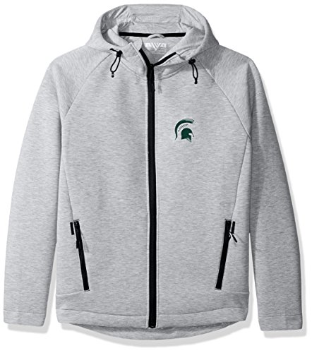 NCAA Michigan State Spartans Adult Men Titan Insignia Full Zip Hooded Jacket, Medium, Heather Pebble (Michigan State Spartans Jacket)
