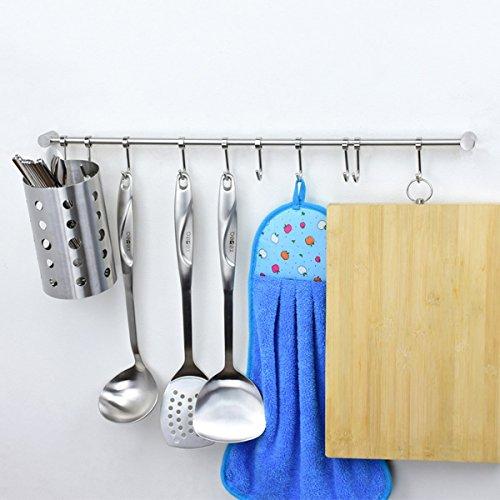 Katoot@ Kitchen Shelf Storage Utensils Cutlery Rack Holder Stainless Steel Cookware Spice Dinnerware Kitchenware Organizer with Hooks (525mm) by Katoot