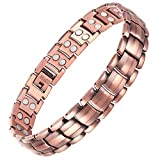 VITEROU Mens Double Row Magnetic Pure Copper Therapy Bracelet with Strong Healing Magnets for Arthritis Pain Relief,3500 Gauss