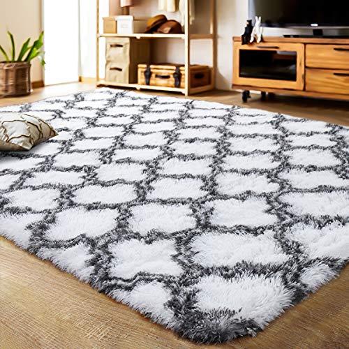 LOCHAS Luxury Velvet Shag Area Rug Modern Indoor Plush Fluffy Rugs, Extra Soft and Comfy Carpet, Geometric Moroccan Rugs for Bedroom Living Room Girls Kids Nursery (5x8 Feet, Grey/White, HS1)