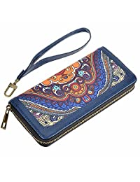HAWEE Long Clutch Wallet PU Leather Zipper Purse with Wristlets Canvas Floral Printing for Women, Blue