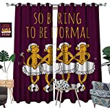 homehot Animal Window Curtain Drape Funny Ballerina Dancing Monkeys with So Boring to Be Normal Quote Print Decorative Curtains for Living Room Maroon and Marigold