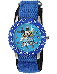 Boy's 'Mickey Mouse' Quartz Stainless Steel and Nylon Casual Watch, Color:Blue (Model: WDS000185)