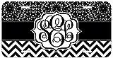 #9: Personalized Monogrammed Chevron Black Lace License Plate Auto Tag