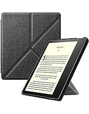 Fintie Hoes Compatibel met Kindle Oasis 10e Generatie (2019 model) en 9e Generatie (2017 model) - [Origami Serie ] Beschermhoes met Standfunctie Automatische Slaap/Wake-Functie, (Stof Donkergrijs)