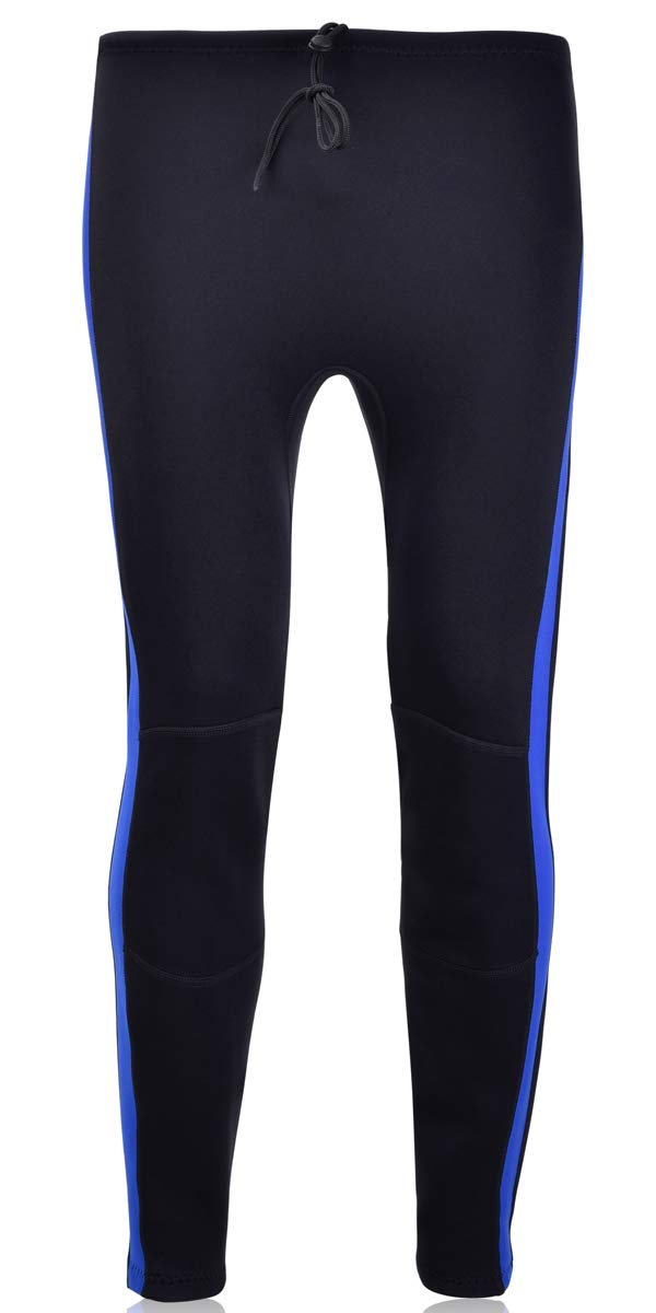 Realon Swim Tights Wetsuit Pants Women 3mm Neoprene and 2mm Men Youth Triathlon Outdoor Sport UV Suit Leggings Girls Boys XSPAN Surfing Scuba Diving Snorkel (2mm Wetsuit Pants/Black with Blue, XL) by REALON