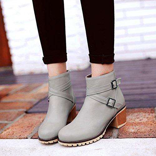 Latasa Womens Monk Strap Chunky Heels Fall Ankle Boots Gray kCVo9YC1