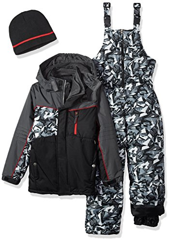 Big Suits (iXtreme Big Boys' Camo Print Snowsuit with 2fer Vestee Detail, Black, 10/12)