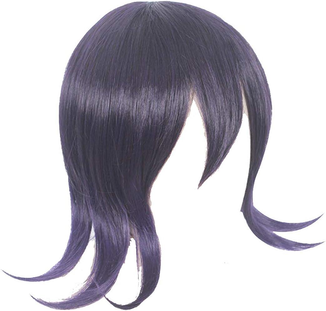 Amazon Com Lokcee Men Boys Dark Purple Mixed Short Hair Wig For Kokichi Ouma Party Anime Halloween Daily Wigs Dangan Cosplay Costume Clothing