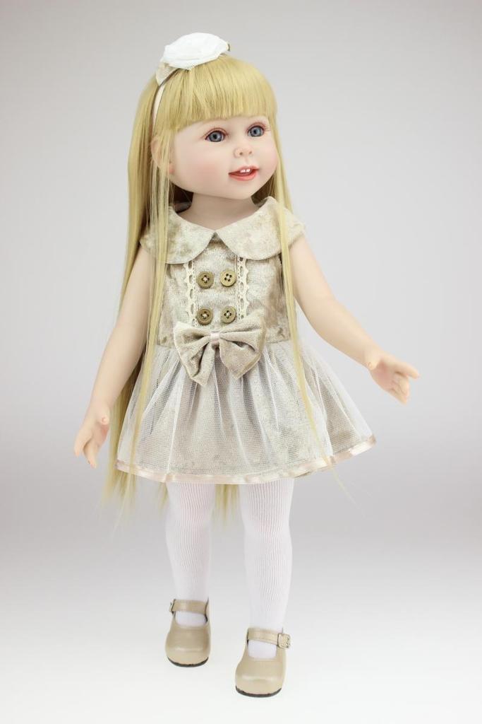 Nicery Reizender Madchen Spielzeug Puppe Hohe Weich Vinyl 18inch 45cm Naturgetreue Beweglich Lacheln Prinzessin Golden Hair Reborn Doll A3DE