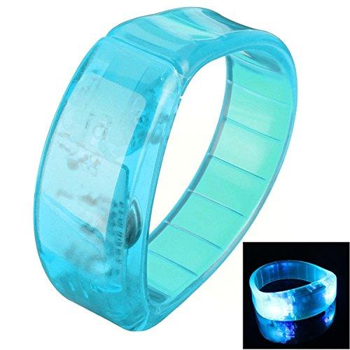 [Voice Control LED Light Glows Wristbands Bracelet Bangle Party Concert (Blue)] (Face Pirate Makeup)