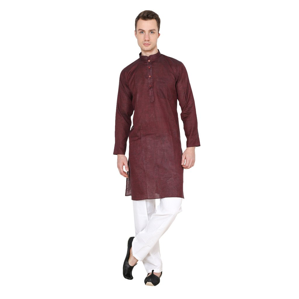 Royal Kurta Men's Cotton Linen Kurta Pyjama 716-DOBBY-MAROON