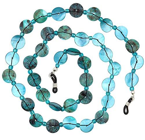 Plastic Neck Chains - Beaded Shell Eyeglass Chain Holder Fashion Lanyard Necklace, Oceana Blue