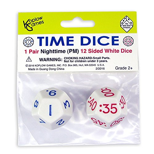 KOPLOW GAMES TIME DICE PAIR OF WHITE PM