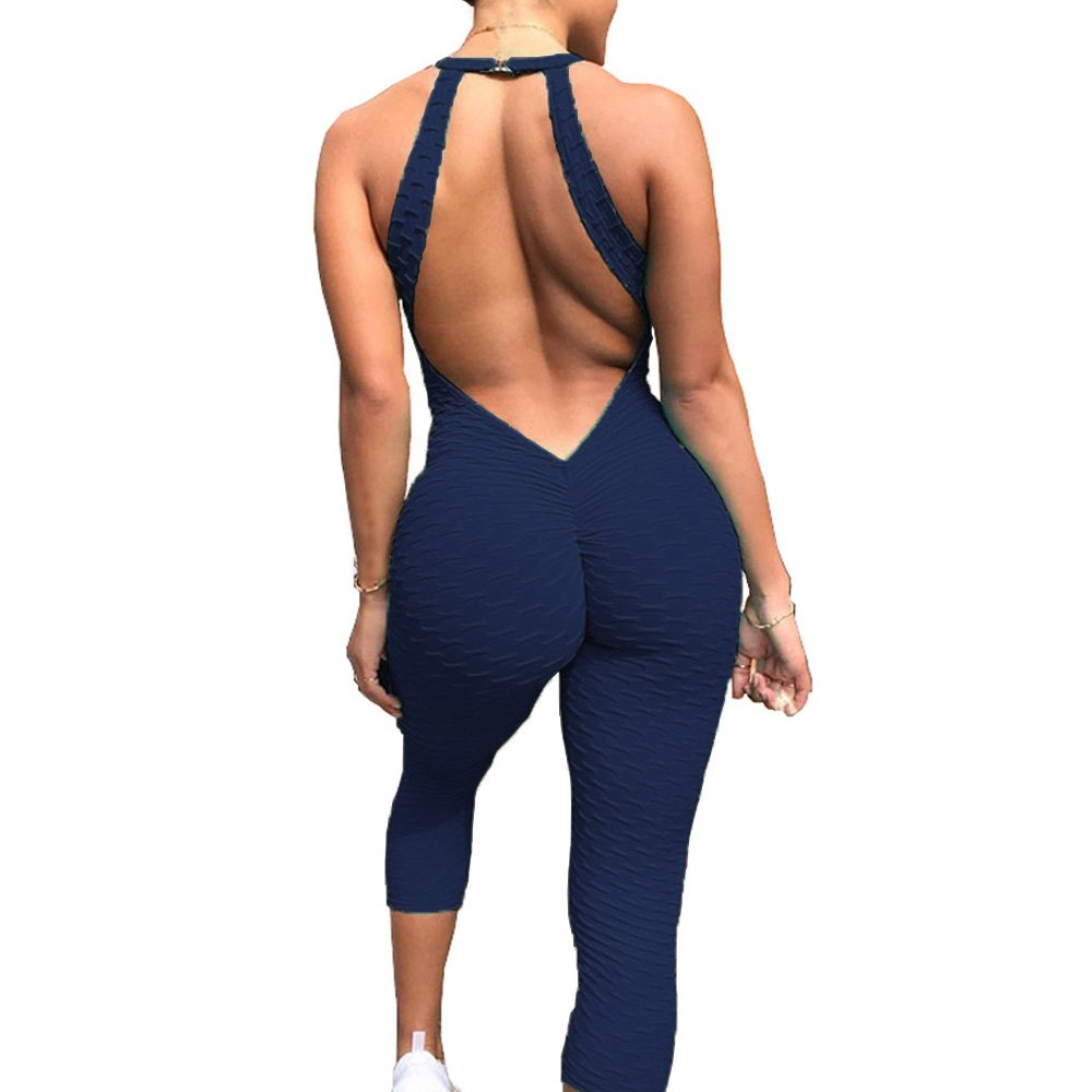 Meet Nice Womens Sport Yoga Jumpsuit Ruched Butt Lifting Sleeveless Backless Romper Playsuit (L, Dark Blue)
