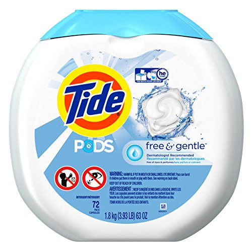 Tide - 10037000898921 - Free & Gentle Laundry Detergent, Pods, 72/Pack, 4/Carton