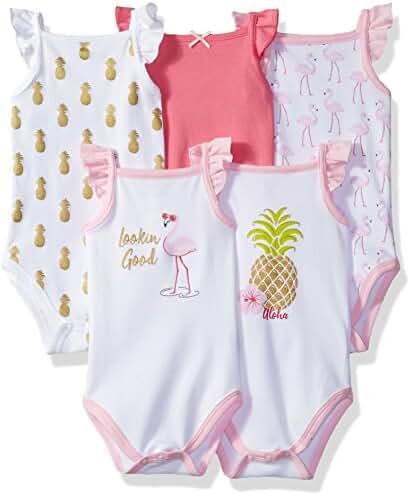 Hudson Baby 5 Pack Sleeveless Bodysuits, Little Surfer, 0-3 Months