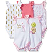 Hudson Baby Baby Sleeveless Bodysuits, 5 Pack, Pineappple, 9-12 Months