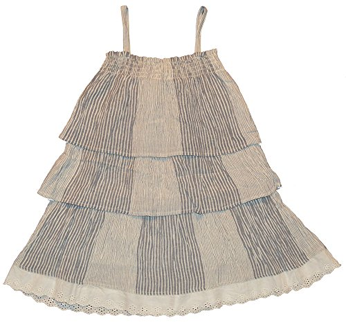 Gap Kids Girls Blue White Stripe Tier Eyelet Dress Large 10 (Gap Blue Dress)