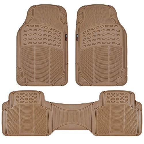 Beige Nibbed Rubber Front Floor Mats & Rear Runner - Odorles