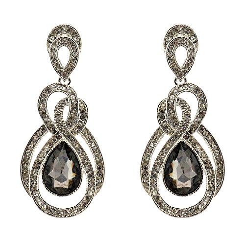 207-GRAY CHARCOAL Fashion Party & Wedding Jewelry Tear Drop Dangle Chandelier Alloy Rhinestone Earrings