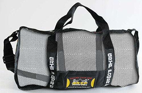 "Grip Power Pads Mesh Gear Bag Multipurpose Boxing Beach Scuba Diving & More Adjustable Shoulder Strap (Black, Large 13"" x 19"")"
