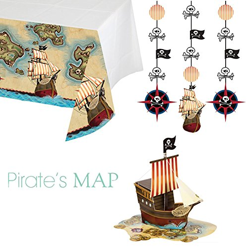 Creative Converting Pirate's Map Party Bundle: 3D Centerpiece, Tablecover, & Hanging Cutouts - Pirate Themed Party Supplies