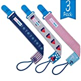 AlmaBaby Universal Safety Pacifier Clip Holders, Boys - Blue Nautical 3 Pack - First Year Gumdrop Clip. No Metal Parts