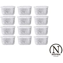 Activated Charcoal Water Filters Replacement for Cuisinart Coffee Machine Part DCC-RWF By NISPIRA - Set of 12 filters